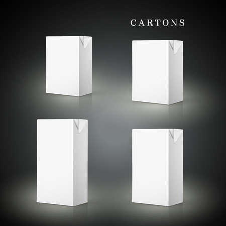 quart: white drink cartons set isolated on black background Illustration