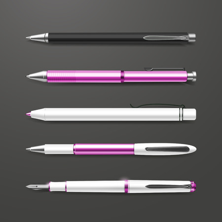 ballpoints: graceful pink pens set isolated on black background Illustration