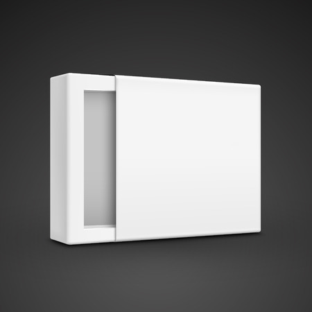 qualities: blank paper box template isolated on black background