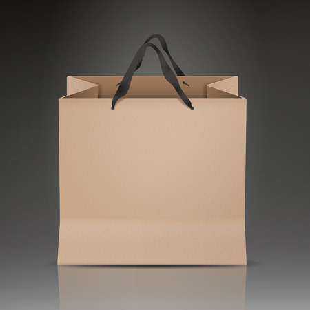 paper bag: paper bag isolated on black background