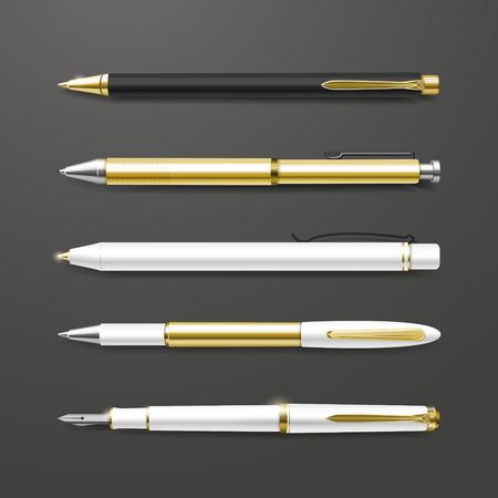 graceful gold pens set isolated on black background