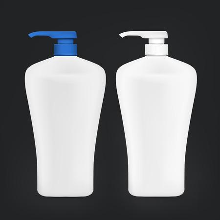 shampoo bottle: blank shampoo bottle set isolated on black background Illustration