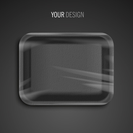 food tray: empty wrapped black food tray over black background Illustration