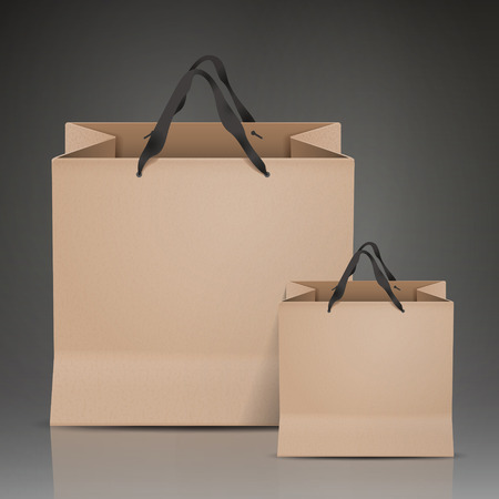 paper bags: kraft paper bags set isolated on black background