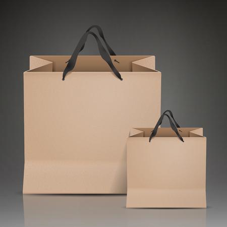 kraft: kraft paper bags set isolated on black background