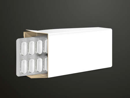 a tablet blister: pills with white package paper box isolated on black background Illustration