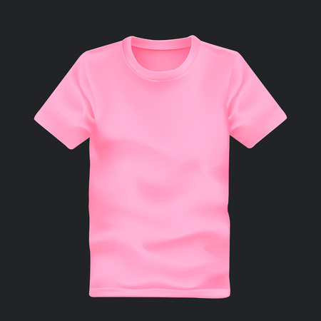 blank t shirt: mans t-shirt in pink isolated on black background