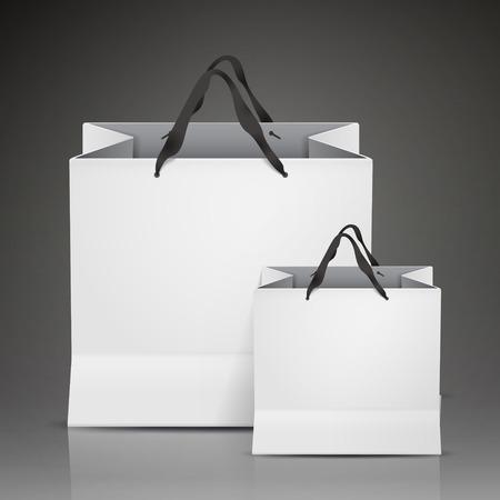 bargaining: white shopping bags set isolated on black background