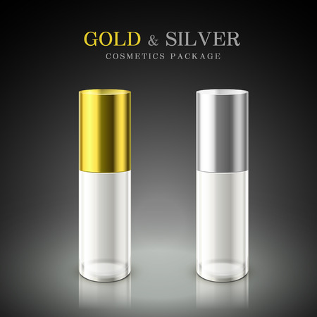 perfume bottle: golden and silver cosmetic package isolated on black background Illustration