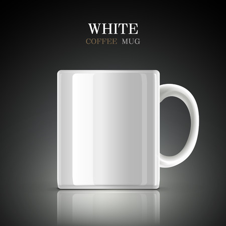 cup coffee: classic white mug isolated on black background