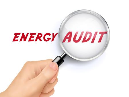 audit énergétique montrant à travers une loupe tenue à la main