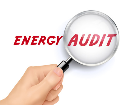 audit: energy audit showing through magnifying glass held by hand
