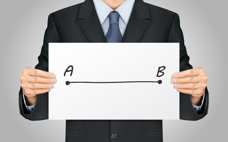 shortest: close-up look at businessman holding point A to B poster Illustration