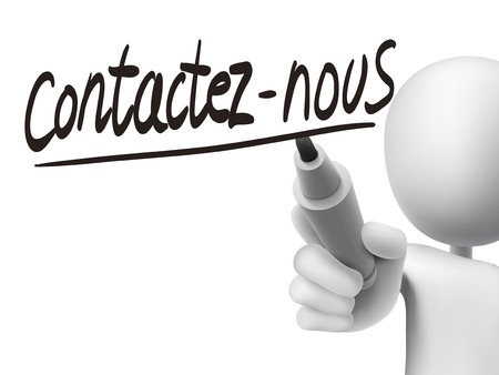 french board: French words for Contact us written by 3d white man on a transparent board Illustration