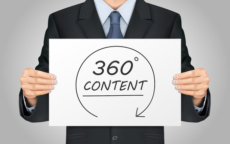 close-up look at businessman holding 360 degrees content poster