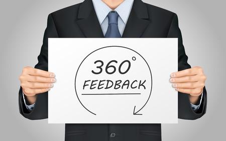 zblízka prohlédnout podnikatel drží obsahu plakát 360 zpětná vazba