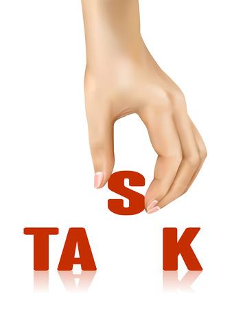 prioridades: palabra tarea llevada por la mano sobre fondo blanco