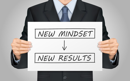 new look: close-up look at businessman holding new mindset make new results poster Illustration