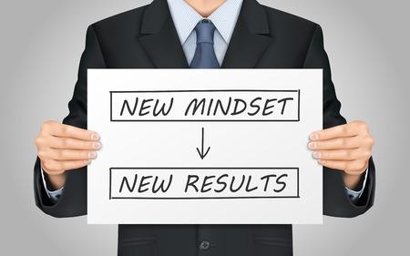 mindset: close-up look at businessman holding new mindset make new results poster Illustration