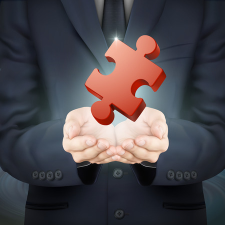 puzzling: close-up look at businessman holding jigsaw puzzle piece Illustration