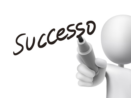 accomplish: Italian words for Success written by 3d white man on a transparent board Illustration