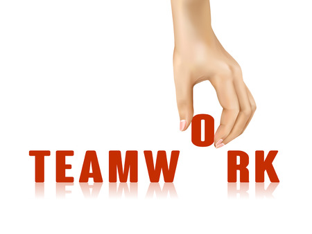 taken: teamwork word taken away by hand over white background Illustration