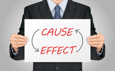 cause: close-up look at businessman holding cause and effect poster Illustration