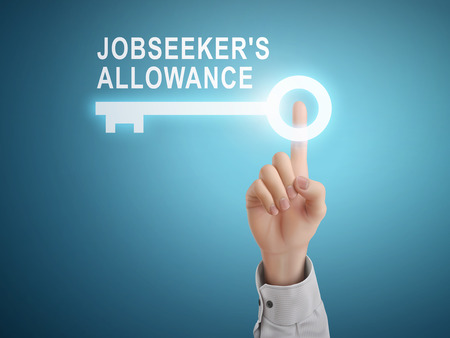 dole: male hand pressing jobseekers allowance key button over blue abstract background