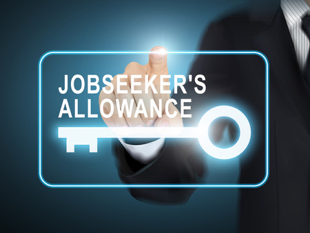 allowance: male hand pressing jobseekers allowance key button over blue abstract background