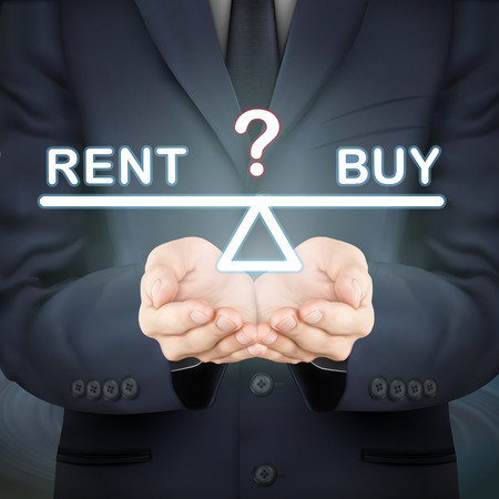 renter: close-up look at businessman holding rent and buy seesaw
