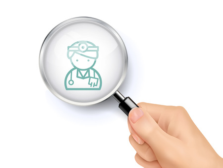medics: doctor icon showing through magnifying glass held by hand