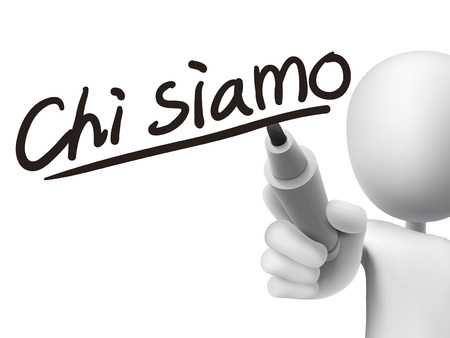 Italian words for About us written by 3d white man on a transparent board