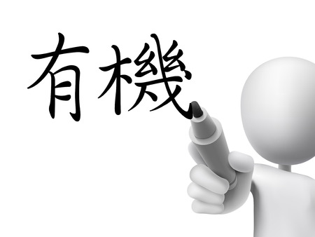 traditional chinese: traditional Chinese words for Organic written by 3d white man on a transparent board