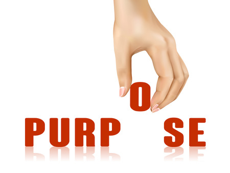 intentional: purpose word taken away by hand over white background