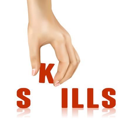 taken: skills word taken away by hand over white background Illustration