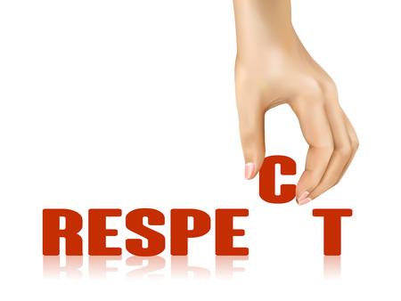 respetar: palabra respeto llevado por la mano sobre fondo blanco