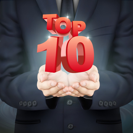 number 10: close-up look at businessman holding top 10 words Illustration