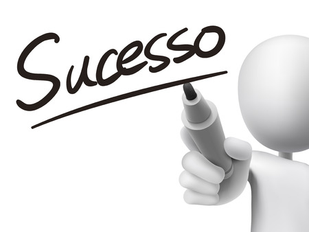 accomplish: Portuguese words for Success written by 3d white man on a transparent board Illustration