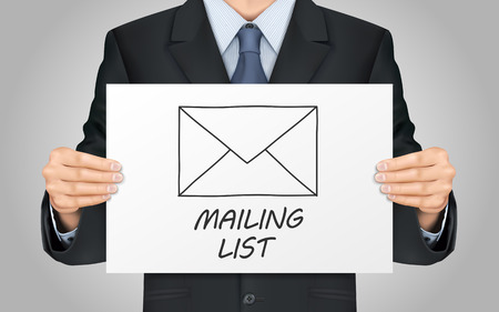 mailing: close-up look at businessman holding mailing list poster