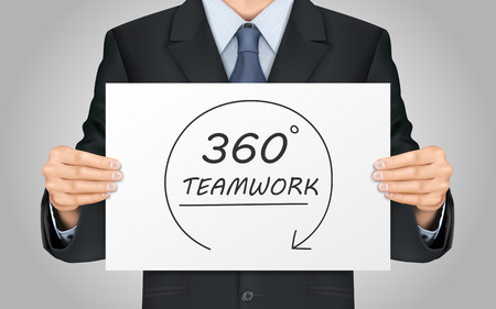 degrees: close-up look at businessman holding 360 degrees teamwork poster Illustration