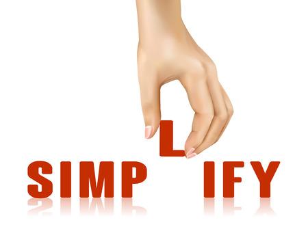 sophistication: simplificar la palabra llevado por la mano sobre fondo blanco Vectores
