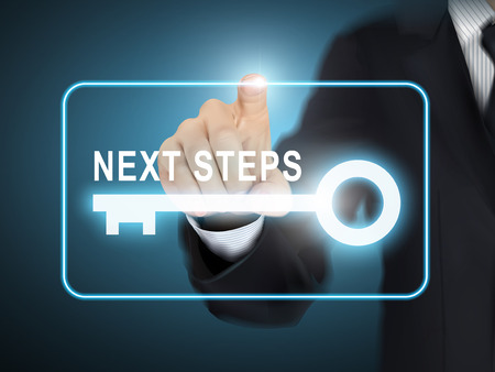 male hand pressing next steps key button over blue abstract background Illustration