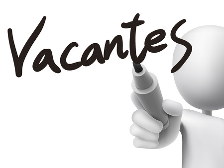 find staff: Spanish words for vacancies written by 3d white man on a transparent board Illustration