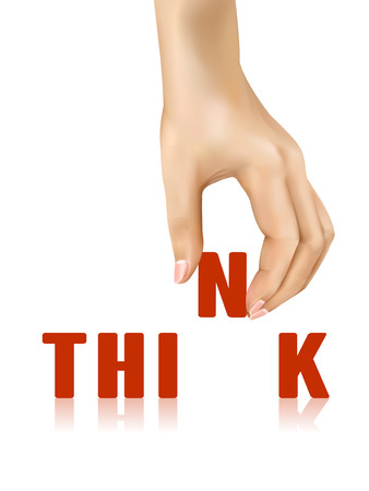taken: think word taken away by hand over white background
