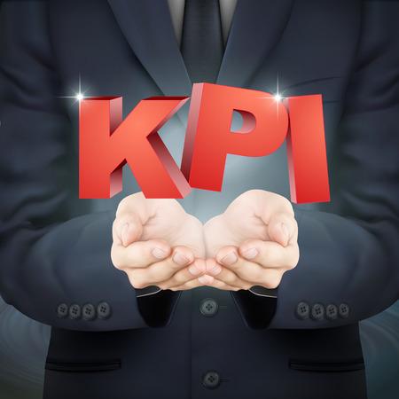 kpi: close-up look at businessman holding KPI words