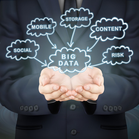 computing: close-up look at businessman holding big data clouds Illustration