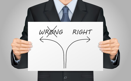 right way: close-up look at businessman holding the right way poster Illustration