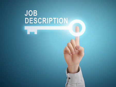 male hand pressing job description key button over blue abstract background Vectores
