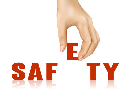 peacefully: safety word taken away by hand over white background