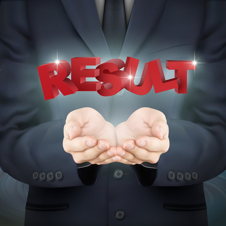 bottom line: close-up look at businessman holding result words Illustration